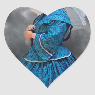 Lovely Lady in blue living in the 1860's Heart Sticker
