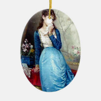 Lovely lady painting ceramic ornament