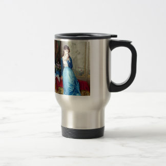 Lovely lady painting travel mug