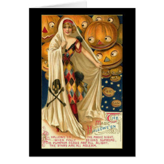 Lovely Lady Vintage Halloween Greeting Card