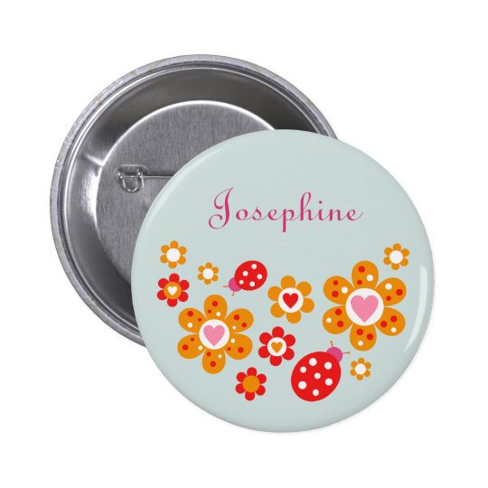 Lovely Ladybird Flowers Blue Button