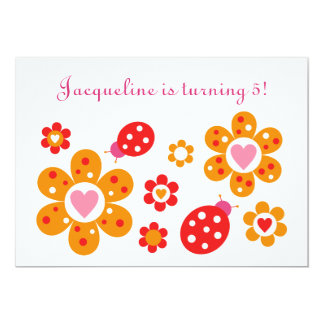 Lovely Ladybird Flowers Party Invitation