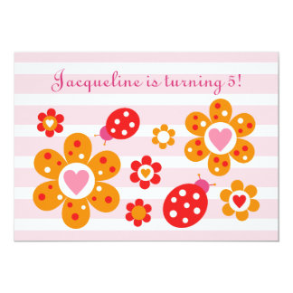 Lovely Ladybird Flowers Party Invite