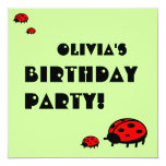 "Lovely Ladybug Birthday Party Invitation Olivia 5.25"" Square Invitation Card"