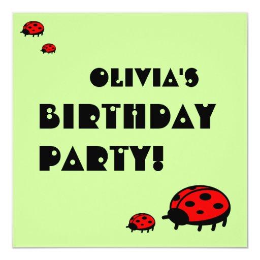 Lovely Ladybug Birthday Party Invitation Olivia