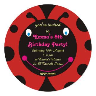 Lovely Ladybug Birthday Party Round Invitations