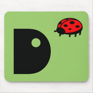 Lovely Ladybug Monogram Mousepad Letter D