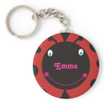Lovely Ladybug Personalized Name Keyrings Basic Round Button Keychain