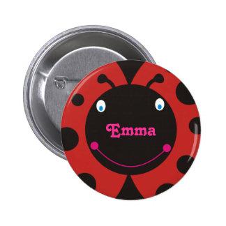 Lovely Ladybug Personalized Name Pinback Button