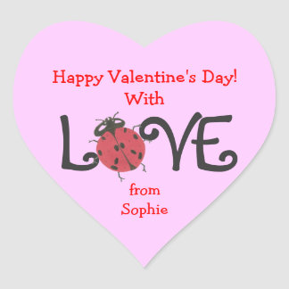 Lovely ladybug personalized valentine sticker