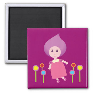 Lovely Lana Lea Runs Through The Flowers 2 Inch Square Magnet