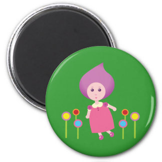Lovely Lana Lea Runs Through The Flowers Magnet