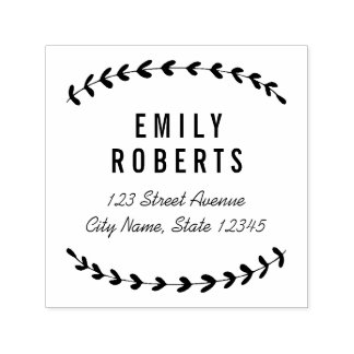 Lovely Laurels Personalized Rubber Stamp