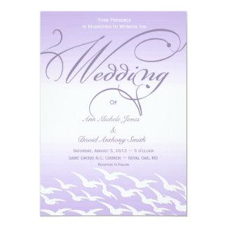 Lovely Lavender and White Birds Wedding Invitation