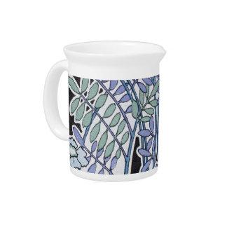 lovely lavender pastel art nouveau vintage floral pitchers