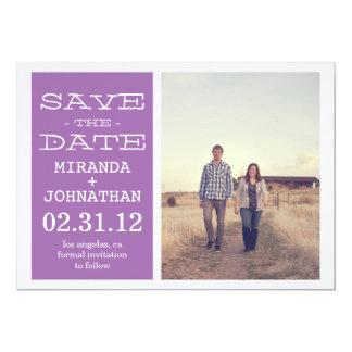 """Lovely Lavender Photo Save The Date Invites 5"""" X 7"""" Invitation Card"""