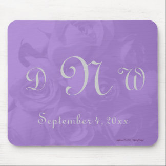 """""""Lovely Lavender Roses"""" - Monogram/Date [a] Mouse Pad"""