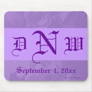 """Lovely Lavender Roses"" - Monogram/Date [b] Mouse Pad"