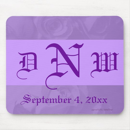 """Lovely Lavender Roses"" - Monogram/Date [b] Mouse Pad"