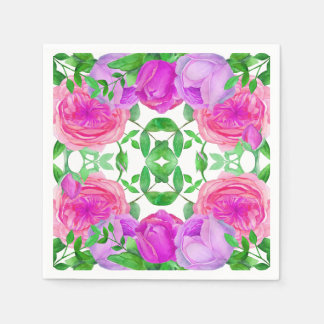 Lovely Lavender Roses Watercolor Floral Pattern Paper Napkin
