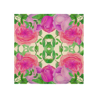 Lovely Lavender Roses Watercolor Floral Pattern Wood Wall Art