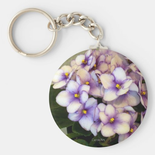 Lovely Lavender Violets Basic Round Button Keychain