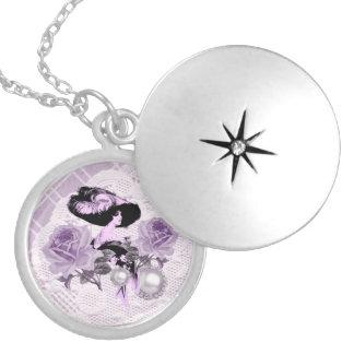 Lovely LavenderLady VintageLace Silver RoundLocket Silver Plated Necklace