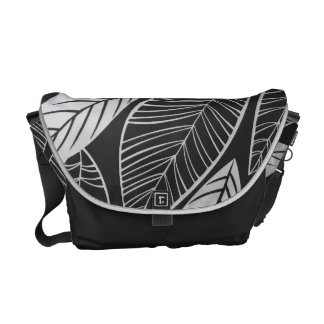 Lovely Leaves Black and White Messenger Bag