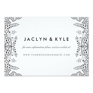 Lovely Leaves Black Insert Card Wedding Website