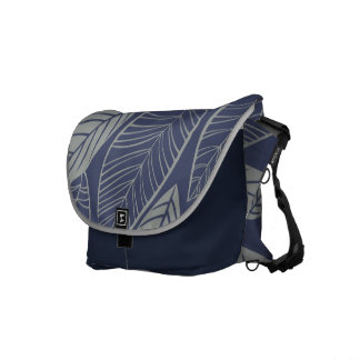 Lovely Leaves Midnight Blue & Silver Messenger Bag