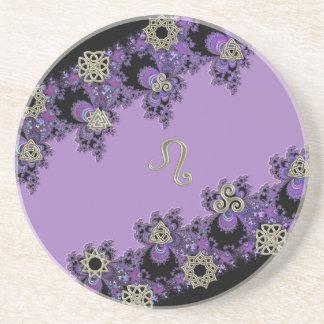 Lovely Leo Lavender Fractal Coaster