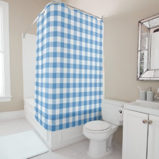 Lovely Light Blue and White Gingham Pattern Shower Curtain