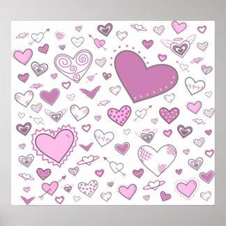 Lovely Light Pink & Purple Heart Doodles Poster