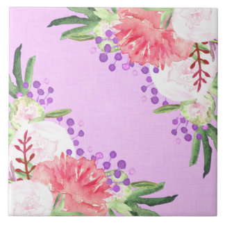 Lovely Lilac and Pink Peony Flowers Tile