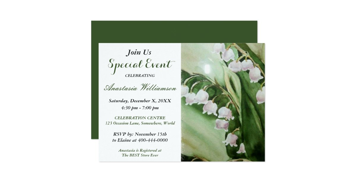 LOVELY LILY OF THE VALLEY PARTY EVENT INVITE | Zazzle.com