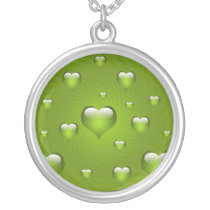 lovely lime green hearts silver plated necklace
