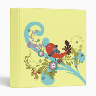 lovely little bird in a tree vector 3 ring binder