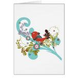 lovely little bird in a tree vector cards