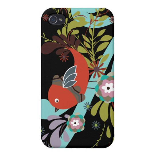 lovely little bird in a tree vector cover for iPhone 4