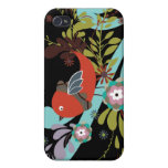 lovely little bird in a tree vector iPhone 4/4S case