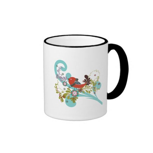 lovely little bird in a tree vector mugs