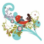 lovely little bird in a tree vector photo cut out
