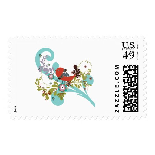 lovely little bird in a tree vector postage stamp