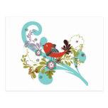 lovely little bird in a tree vector postcard
