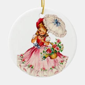 Lovely Little Girl Ornament in Red