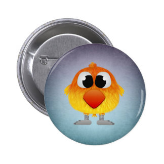 Lovely Little Orange And Yellow Bird Pinback Button