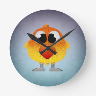 Lovely Little Orange And Yellow Bird Round Clock
