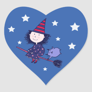 Lovely Little Witch Halloween Stickers (Heart)