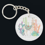 "Lovely Llamas II Keychain<br><div class=""desc"">A soft,  watercolor with a llama standing among cacti. Artist: Mary Urban</div>"