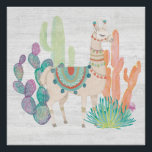 "Lovely Llamas II Poster<br><div class=""desc"">A soft,  watercolor with a llama standing among cacti. Artist: Mary Urban</div>"